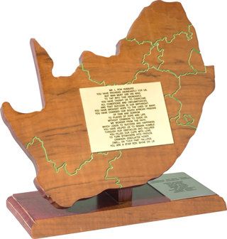 "Honorary Award — Leeuwkop Prison Presented to L. Ron Hubbard by the inmates of South Africa's Leeuwkop Prison in acknowledgment of his criminal reform technology: ""You have brought hope to the lives of many. You have changed our South African prisons of pain and sorrow to places of hope and life."""